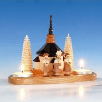 Kerzenhalter mit Kirche und Kurrende, natur