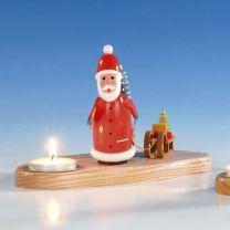 Kerzenhalter mit Weihnachtsmann, bunt, ca. 10 cm