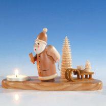 Kerzenhalter mit Weihnachtsmann, natur, ca. 10 cm