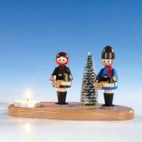 Kerzenhalter mit Striezelkinder, bunt, ca. 10 cm