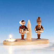 Kerzenhalter mit Striezelkinder, natur, ca. 10 cm