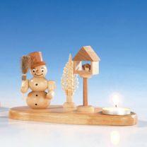 Kerzenhalter mit Schneemann und Vogelhaus, natur