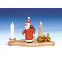 Kerzenhalter Weihnachtsmann mit Licht, bunt