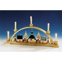 Schwibbogen Seiffener Kirche und Innenbeleuchtung elektr. beleuchtet