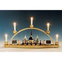 Schwibbogen Seiffener Kirche mit Laternenkinder, bunt, elektr. beleuchtet