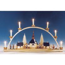 Schwibbogen Seiffener Kirche mit beleuchteten Laternen elektr. beleuchtet