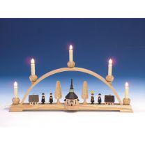 Schwibbogen mit Seiffener Kirche, bunt elektr. beleuchtet