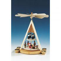 Pyramide Bescherung, Weihnachtsmann, Laternenkinder, bunt, 2-stöckig
