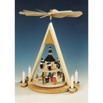 Pyramide mit Christi Geburt, bunt, 2-stöckig