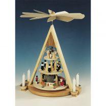 Pyramide mit Erzgebirgs Weihnacht, 3-stöckig