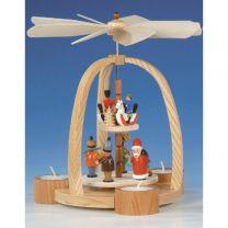 Teelichtpyramide mit Weihnachtsmann und Reiterlein, bunt