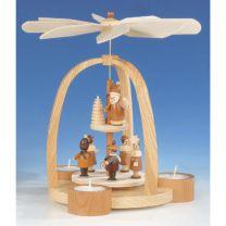 Teelichtpyramide mit Kurrende und Laternenkinder, natur