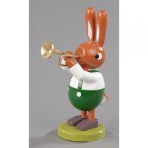 Hase mit Trompete - Höhe 16 cm
