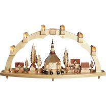Schwibbogen - Seiffener Kirche mit Dorf, groß