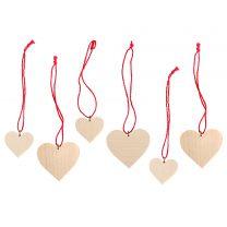 Christbaumschmuck, natur - 3 Herzen groß, 3 Herzen klein