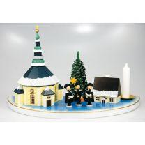 Kerzenhalter (Halbkreis, groß) - mit Seiffener Kirche, bunt mit Schnee
