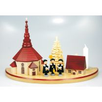 Kerzenhalter (Halbkreis, groß) - mit Seiffener Kirche, natur