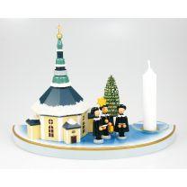 Kerzenhalter (Halbkreis, klein) - mit Seiffener Kirche, bunt mit Schnee