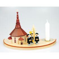 Kerzenhalter (Halbkreis, klein) - mit Seiffener Kirche, natur