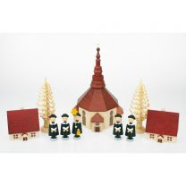 Seiffener Kirche 15 cm - Kurrendefiguren, Häuser, Spanbäum, natur