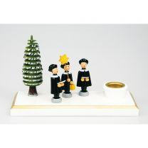 Kerzenhalter mit 3 Kurrendefiguren - Baum bunt