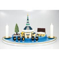 Kerzenhalter (Halbkreis doppelt, groß) - mit Seiffener Kirche, bunt mit Schnee