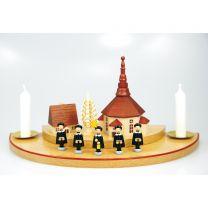Kerzenhalter (Halbkreis doppelt, groß) - mit Seiffener Kirche, Spanbaum natur
