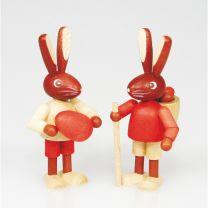 Osterartikel - Hasenpärchen (2 Kinder) 4 cm zum Stellen