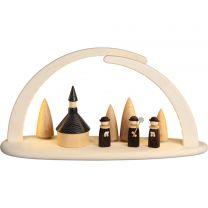 Bogen doppelt mit LED-Beleuchtung Seiffener Kirche mit USB-Stecker Breite: 41 cm