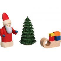 Weihnachtsmann mit Schlitten, farbig, 3-teilig
