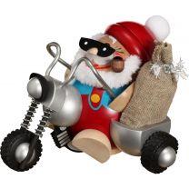 Kugelräucherfigur - Nikolaus fährt Motorrad