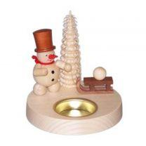 Teelichthalter - Schneemann mit Schlitten
