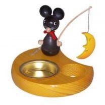 Teelichthalter - Maus mit Mond