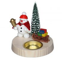 TLH Schneemann Weihnachtsmann, farbig/weiß lasiert